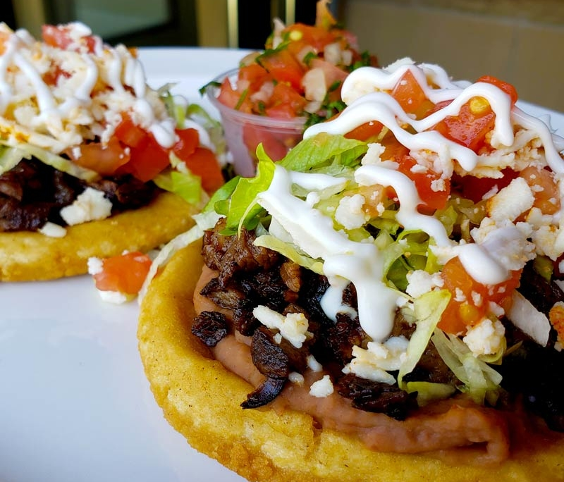 sopes in chicago at mexican restaurant la cantina grill in south loop