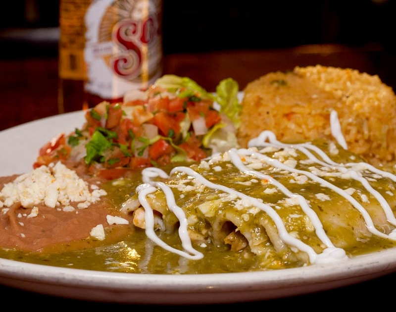 Enchiladas at La Cantina Mexican Restaurant Chicago in the south loop